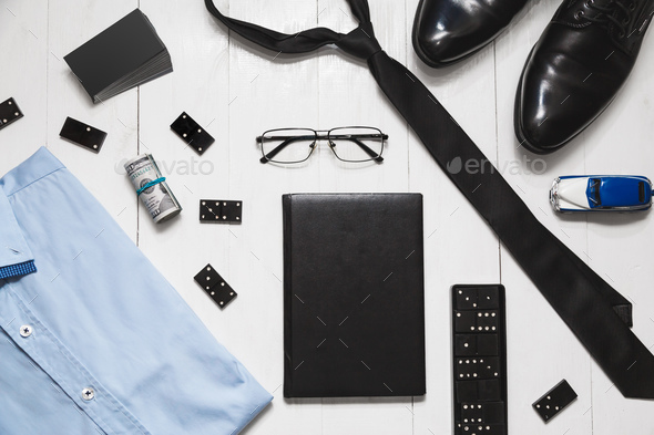 Fashion set accessories of successful and risky men - Stock Photo - Images