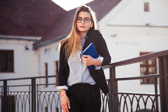 A young graduate girl in search of work - Stock Photo - Images