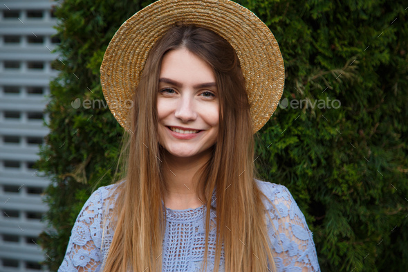Cool hipster woman summer portrait in hat - Stock Photo - Images