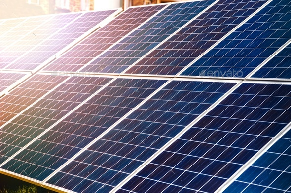 Energy-efficient solar panels producing electricity - Stock Photo - Images
