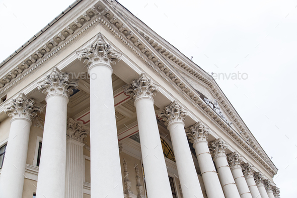 Classical pillars with portico detail - Stock Photo - Images