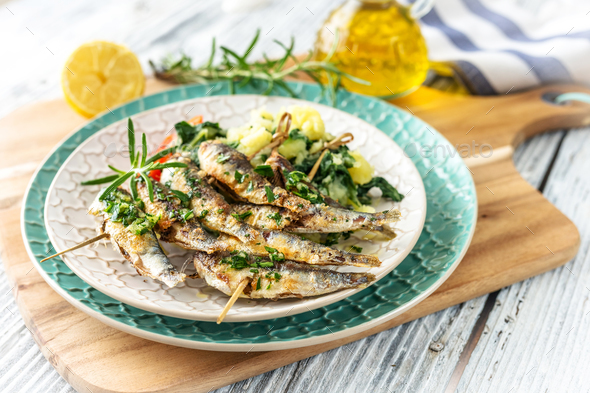 Healthy sardines with potato and chard - Stock Photo - Images