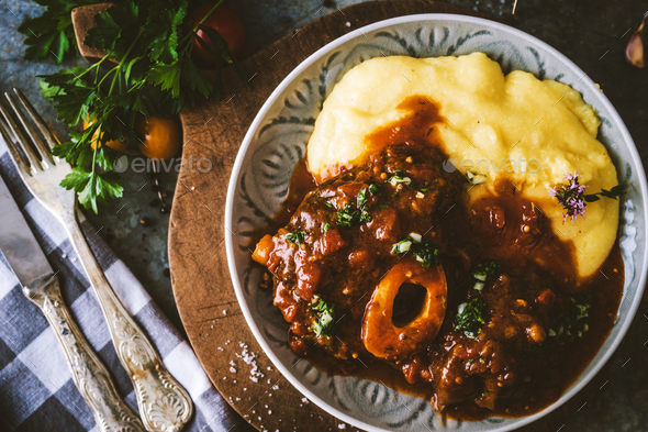 Osso bucco Beef Stew with Polenta - Stock Photo - Images