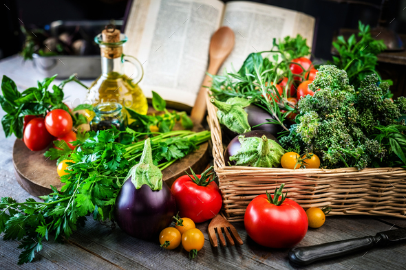 Ingredients and Cookbook - Stock Photo - Images