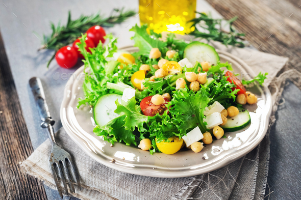Fresh healthy salad with chickpea - Stock Photo - Images