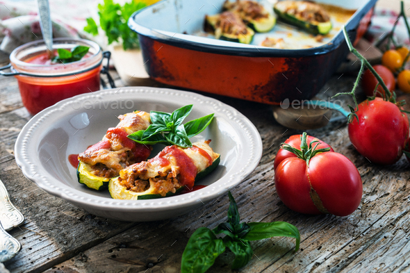 Zucchini stuffed with minced and mozzarella - Stock Photo - Images