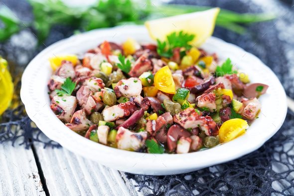 Fresh octopus salad - Stock Photo - Images