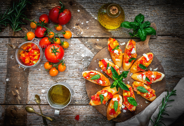 Bruschetta with tomato, garlic and basil - Stock Photo - Images