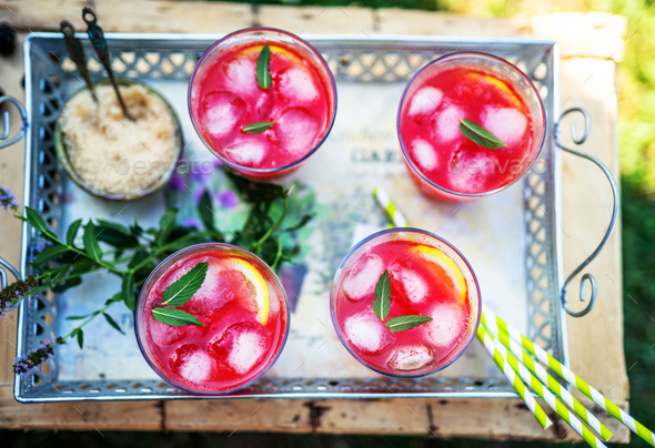 Watermelon smoothies with mint - Stock Photo - Images