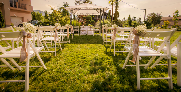 Outdoor setup for wedding reception - Stock Photo - Images