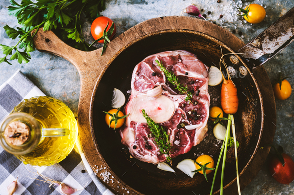 Raw osso buco - Stock Photo - Images