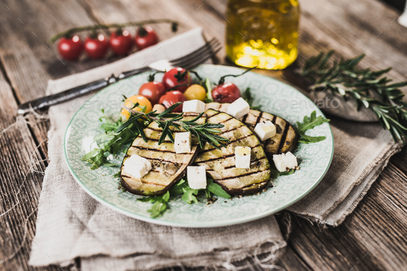 Griled eggplant with feta chese - Stock Photo - Images