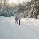 Mom and Daughter Doing Nordic Walking in the Suburbs in Winter - VideoHive Item for Sale