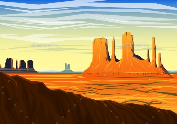 Mountain and Monument Valley, Morning Panoramic - Landscapes Nature