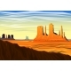 Mountain and Monument Valley, Morning Panoramic - GraphicRiver Item for Sale