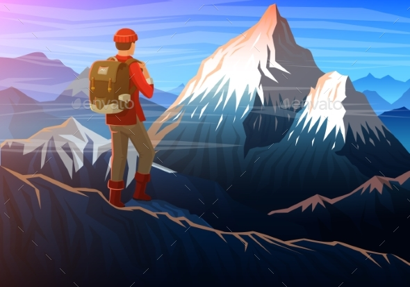 Mountain Everest with Tourist, Evening Panoramic - Sports/Activity Conceptual