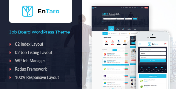 Entaro - Job Portal WordPress Theme - Directory & Listings Corporate