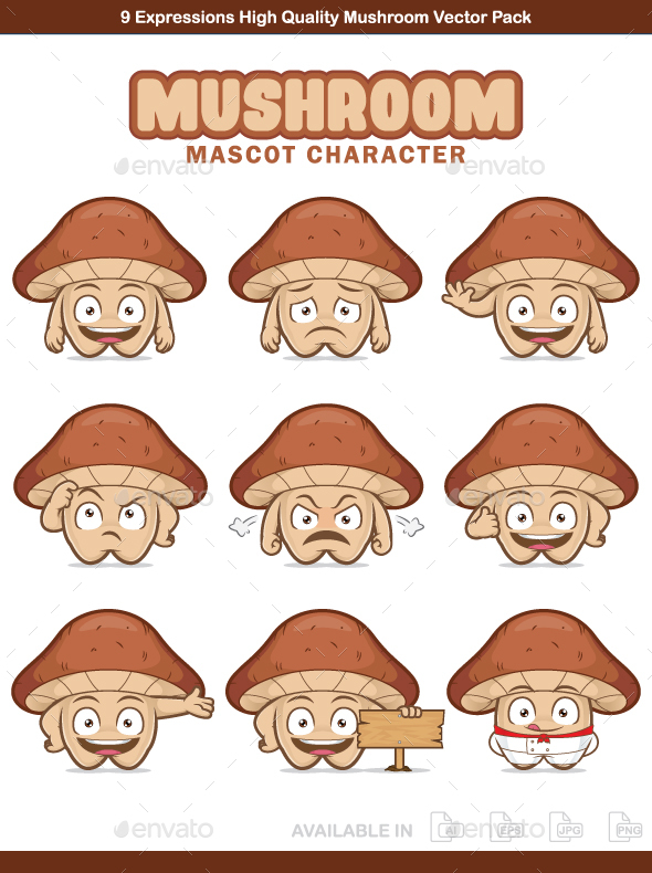 Mushroom Mascot Character - Flowers & Plants Nature