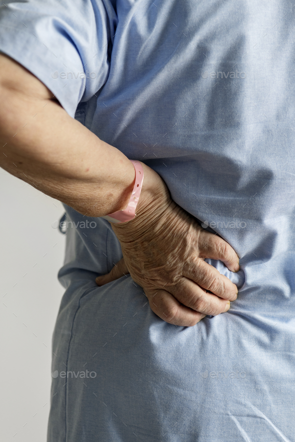 Elderly woman with back pain - Stock Photo - Images