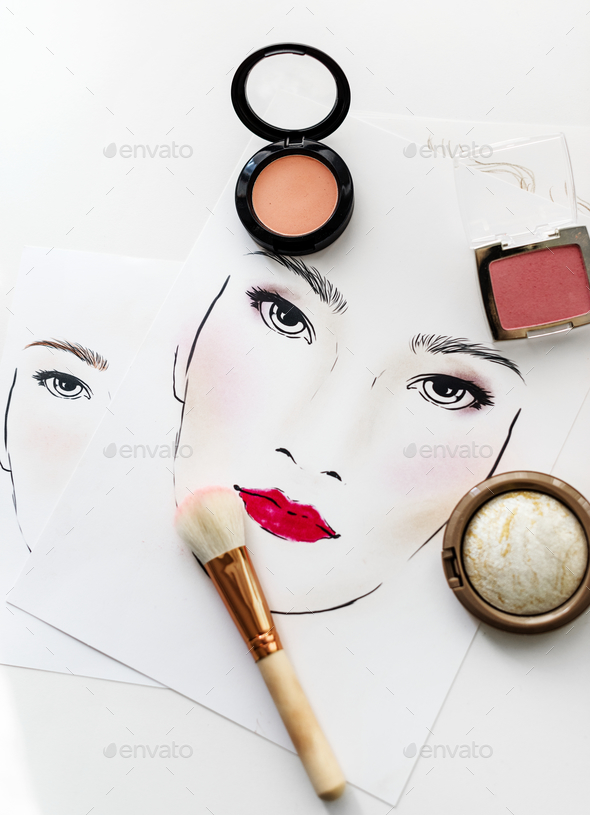 Closeup of blushers an brush on a face chart Stock Photo by Rawpixel