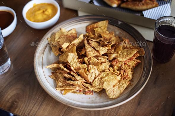 Closeup of nacho snack - Stock Photo - Images