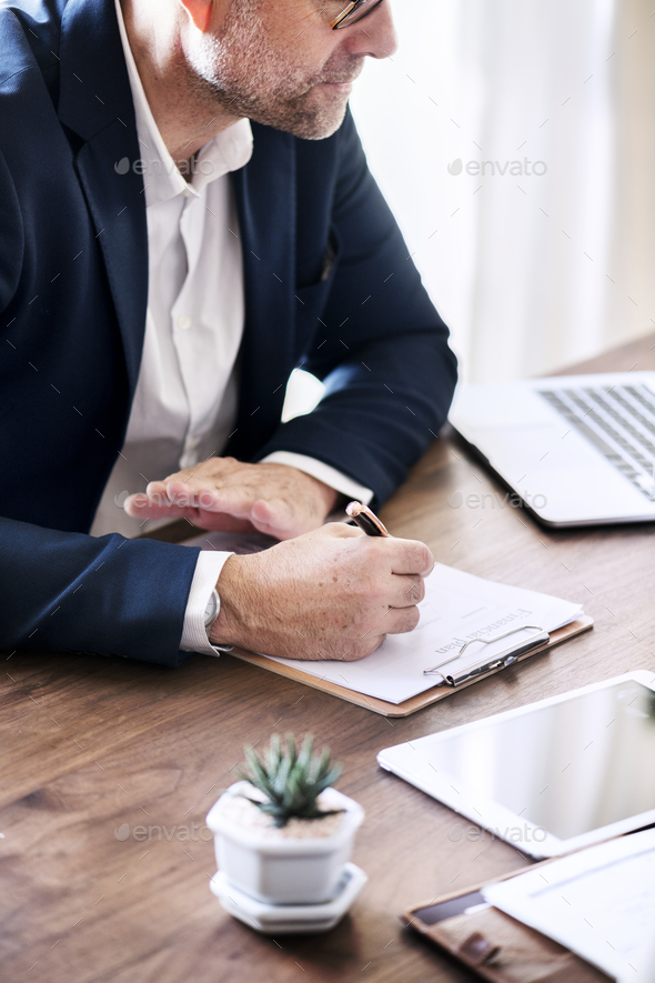 White business man working in the office - Stock Photo - Images