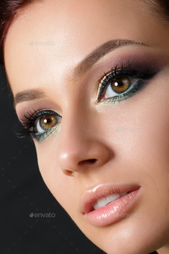 Closeup portrait of young beautiful woman - Stock Photo - Images