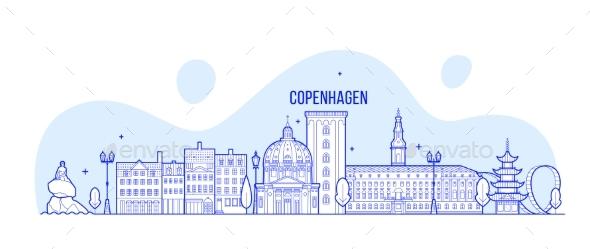 Copenhagen Skyline Denmark Vector City Buildings - Buildings Objects