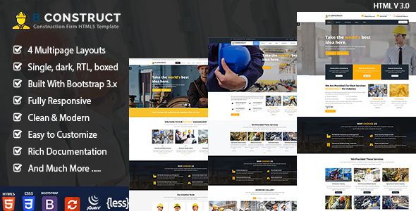 Extraordinary B Construction - Building Company HTML