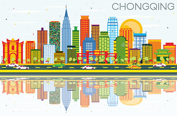 Chongqing Skyline with Color Buildings, Blue Sky and Reflections. - Buildings Objects