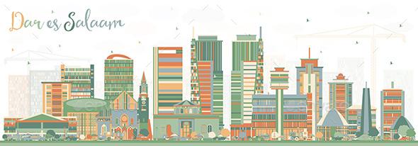 Dar Es Salaam Tanzania Skyline with Color Buildings. - Buildings Objects