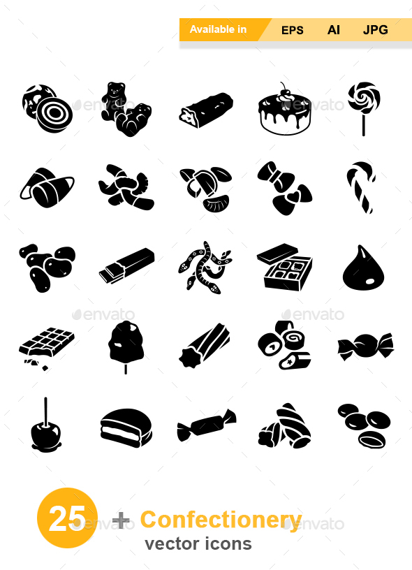 Confectionery Vector Icons - Food Objects