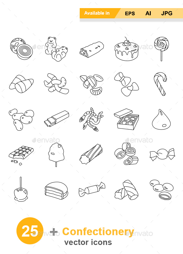 Confectionery Outlines Vector Icons - Food Objects