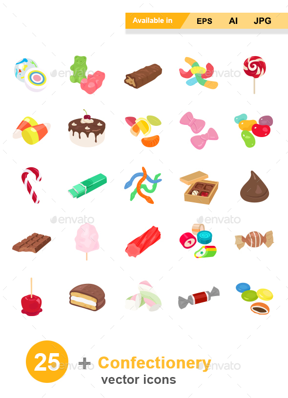 Confectionery Color Vector Icons - Food Objects