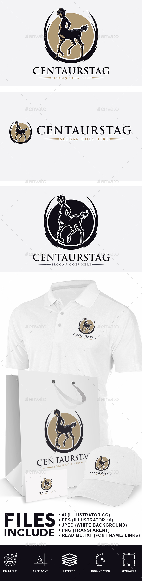 Young Centaur Stag Logo - Humans Logo Templates