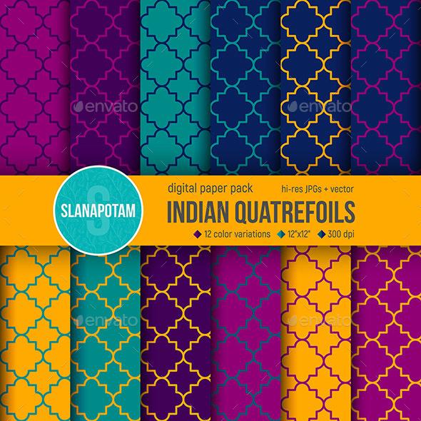 12 Indian Quatrefoil Patterns - Patterns Backgrounds