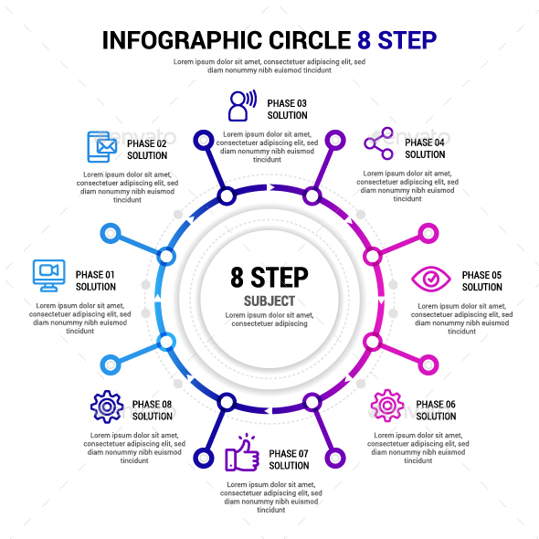 Circle 8 step Infographic - Infographics