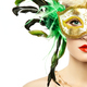 Beautiful young woman in mysterious golden Venetian mask - PhotoDune Item for Sale