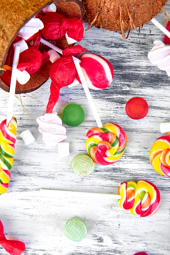 Explosion of candies from coconut. - Stock Photo - Images