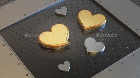 Metallic Heart Shape Gift Box - 3D Backgrounds