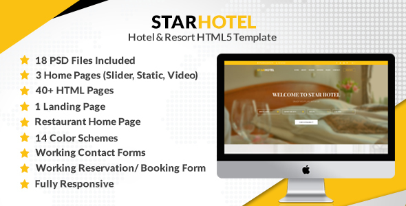 Image of STAR HOTEL - Hotel, Resort & Restaurant Booking HTML5 Template