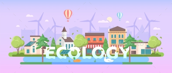 Ecology - Modern Flat Design Style Vector - Buildings Objects