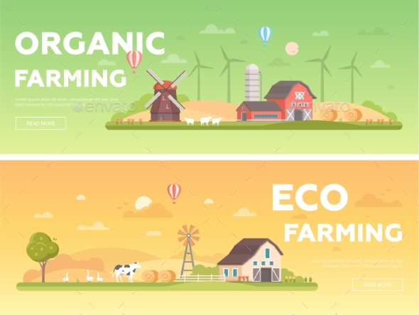 Organic Farming - Set of Modern Flat Design Style - Buildings Objects