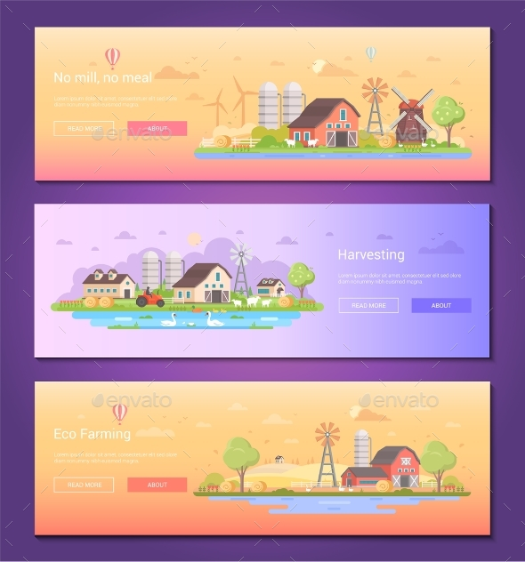 No Mill, No Meal - Set of Modern Flat Design Style - Buildings Objects