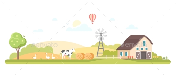 Rural Landscape - Modern Flat Design Style Vector - Buildings Objects
