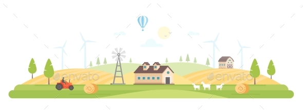 Eco Village - Modern Flat Design Style Vector - Buildings Objects