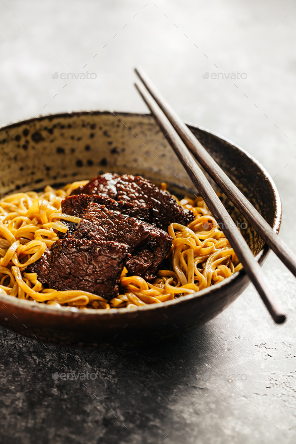 Soba noodles with beef - Stock Photo - Images