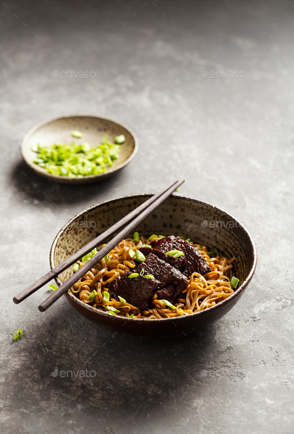 Japanese noodle with beef - Stock Photo - Images