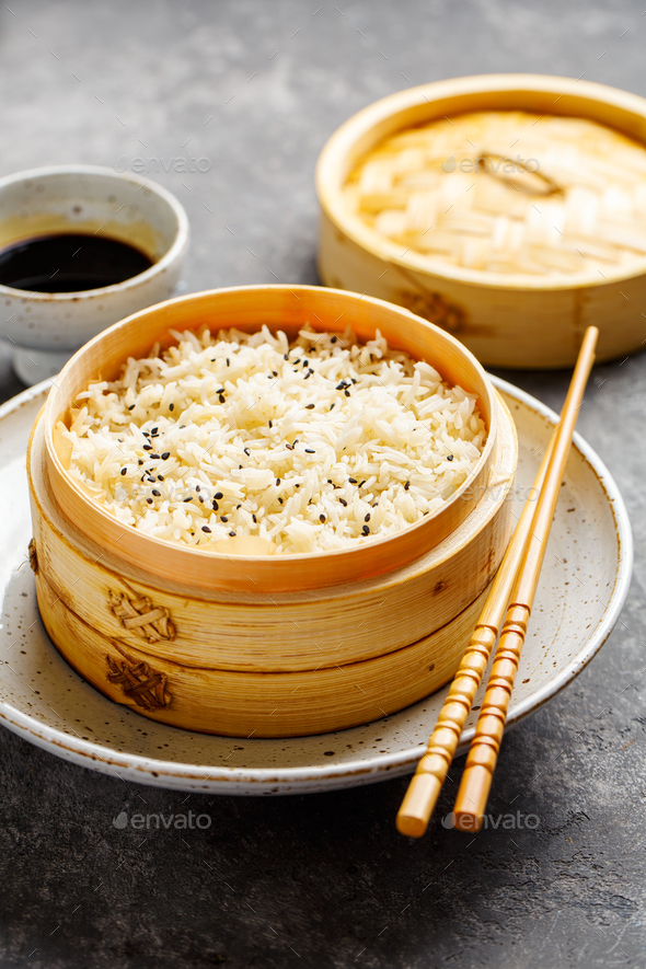 Steamed rice in bamboo steamer - Stock Photo - Images