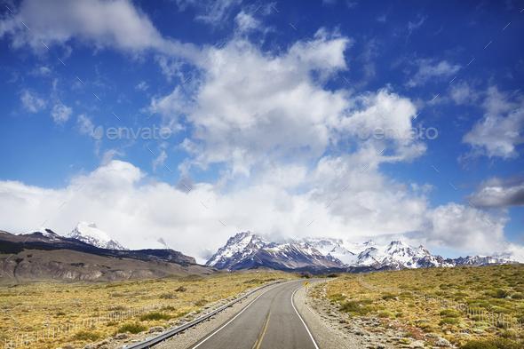 Road to El Chalten with Fitz Roy Mountain range, Argentina. - Stock Photo - Images